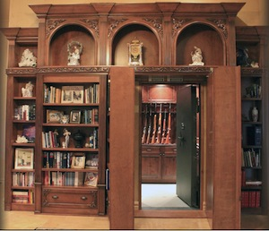 Bookcase Gun Safe-Room Open